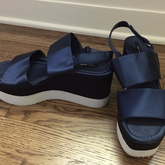 Zara Navy Satin Platform Sandals